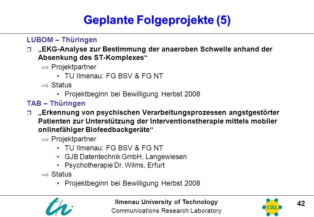 "Ilmenau University of Technology Communications Research Laboratory 42 Geplante Folgeprojekte (5) LUBOM – Thüringen  ""EKG-Analyse zur Bestimmung der"