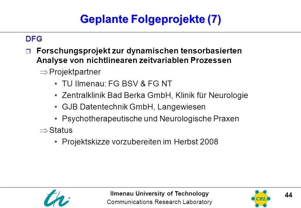 Ilmenau University of Technology Communications Research Laboratory 44 Geplante Folgeprojekte (7) DFG  Forschungsprojekt zur dynamischen tensorbasier