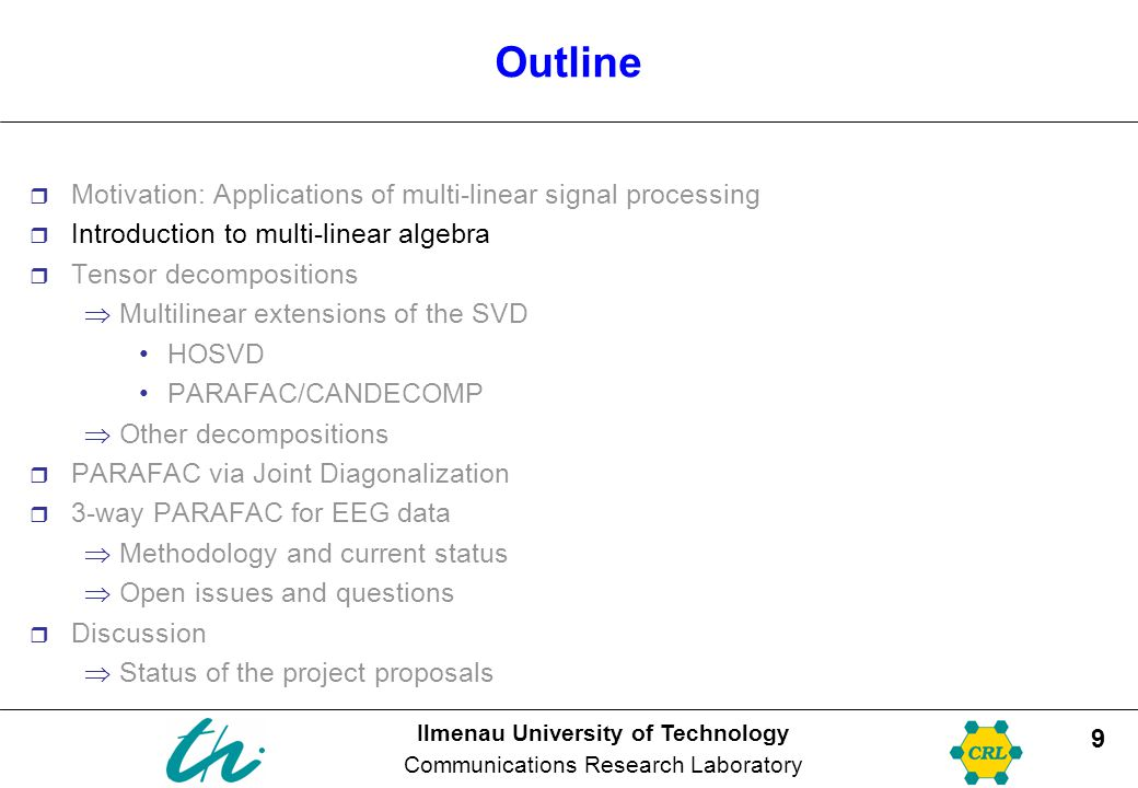 Ilmenau University of Technology Communications Research Laboratory 20 Outline  Motivation: Applications of multi-linear signal processing  Introduction to multi-linear algebra  Tensor decompositions  Multilinear extensions of the SVD HOSVD PARAFAC/CANDECOMP  Other decompositions  PARAFAC via Joint Diagonalization  3-way PARAFAC for EEG data  Methodology and current status  Open issues and questions  Discussion  Status of the project proposals