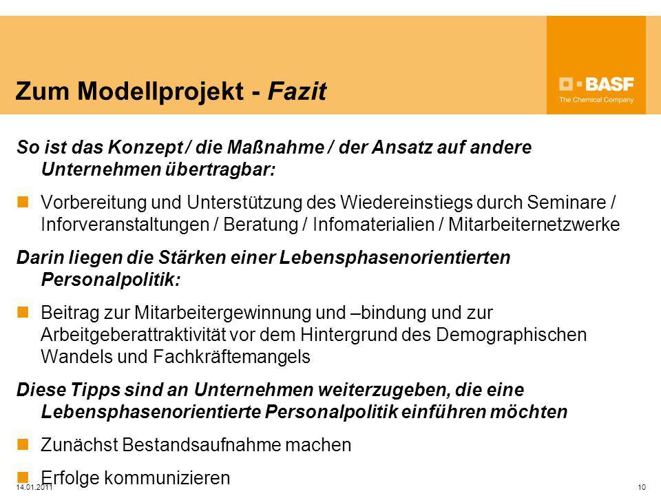 14.01.201110 Zum Modellprojekt - Fazit So ist das Konzept / die Maßnahme / der Ansatz auf andere Unternehmen übertragbar: Vorbereitung und Unterstützu