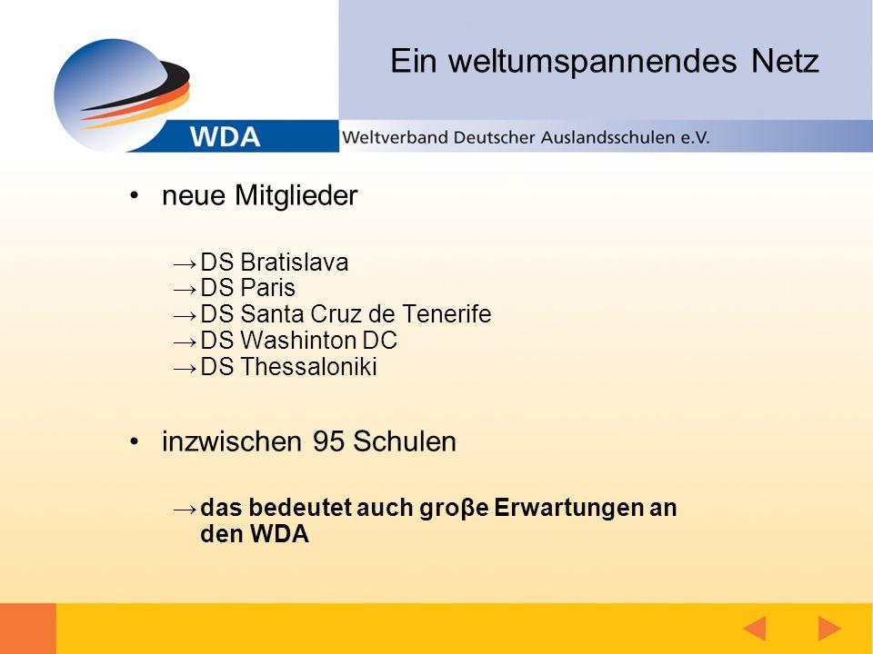 Schirmherrschaft Der WDA gibt den in ihm organisierten Schulen ein wichtiges Instrumentarium zur Hand, um ihre Schüler optimal auf die Herausforderungen einer immer stärker vernetzten Welt vorzubereiten.