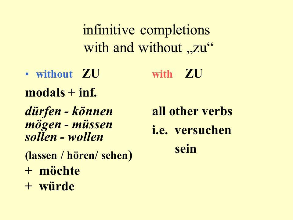 """infinitive completions with and without """"zu"""" without ZU modals + inf. dürfen - können mögen - müssen sollen - wollen (lassen / hören/ sehen ) + möchte"""