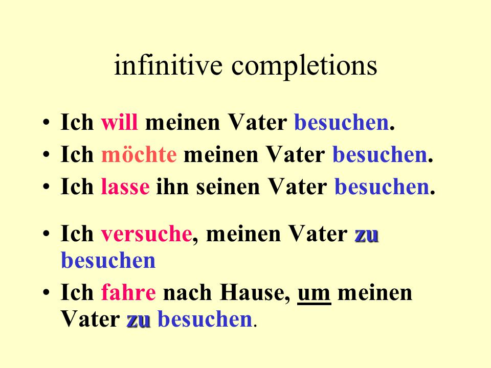 "infinitive completions with and without ""zu without ZU modals + inf."