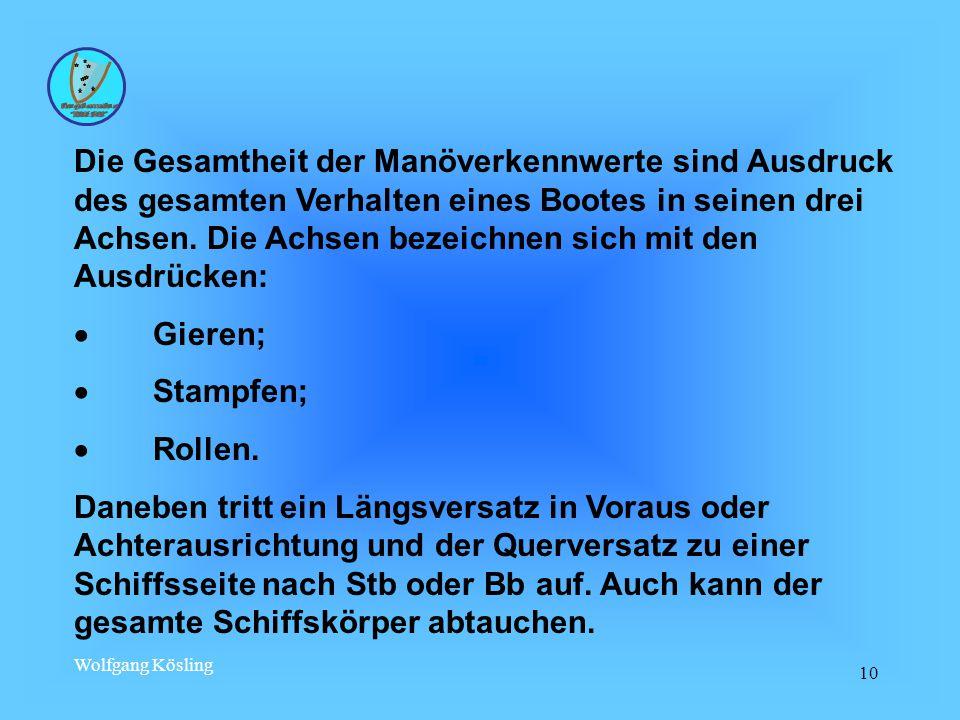 Wolfgang Kösling 10 Die Gesamtheit der Manöverkennwerte sind Ausdruck des gesamten Verhalten eines Bootes in seinen drei Achsen.