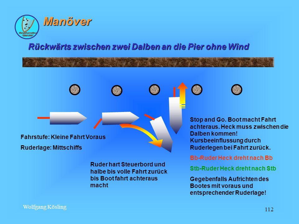 Wolfgang Kösling 112 Rückwärts zwischen zwei Dalben an die Pier ohne Wind Fahrstufe: Kleine Fahrt Voraus Ruderlage: Mittschiffs Stop and Go.