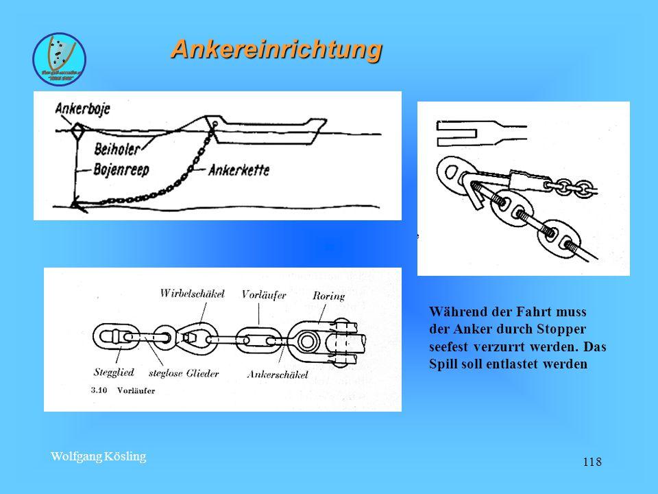 Wolfgang Kösling 118 Ankereinrichtung Während der Fahrt muss der Anker durch Stopper seefest verzurrt werden.
