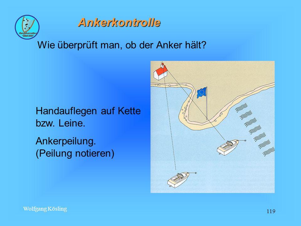 Wolfgang Kösling 119 Ankerkontrolle Wie überprüft man, ob der Anker hält.