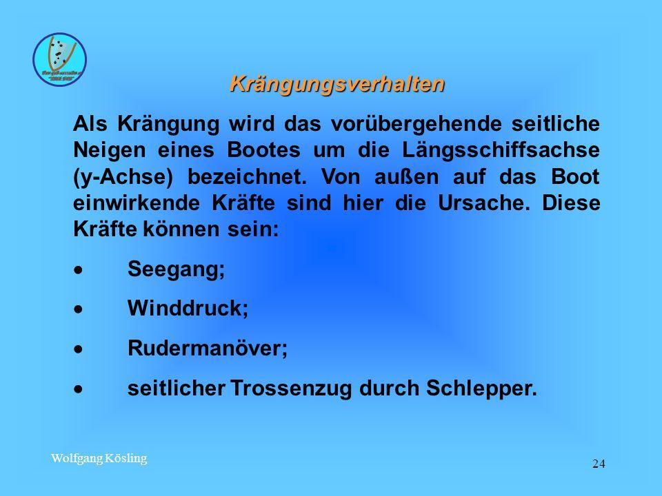 Wolfgang Kösling 24 Krängungsverhalten Als Krängung wird das vorübergehende seitliche Neigen eines Bootes um die Längsschiffsachse (y-Achse) bezeichnet.