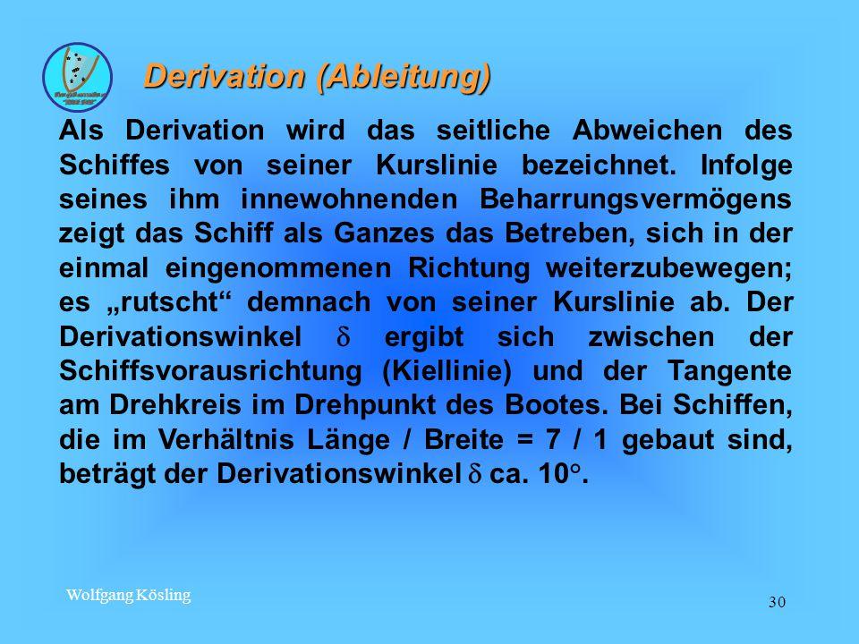Wolfgang Kösling 30 Derivation (Ableitung) Derivation (Ableitung) Als Derivation wird das seitliche Abweichen des Schiffes von seiner Kurslinie bezeichnet.