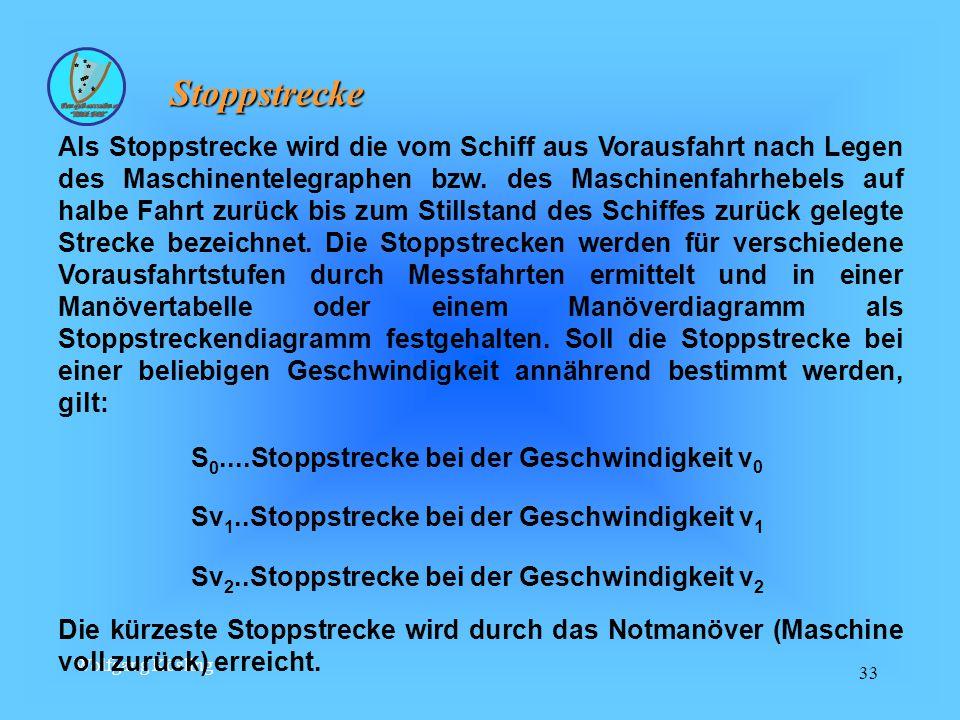 Wolfgang Kösling 33 Stoppstrecke Stoppstrecke Als Stoppstrecke wird die vom Schiff aus Vorausfahrt nach Legen des Maschinentelegraphen bzw.