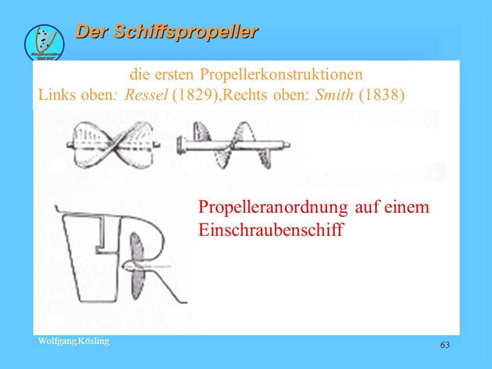 Wolfgang Kösling 63 Der Schiffspropeller die ersten Propellerkonstruktionen Links oben: Ressel (1829),Rechts oben: Smith (1838) Propelleranordnung auf einem Einschraubenschiff