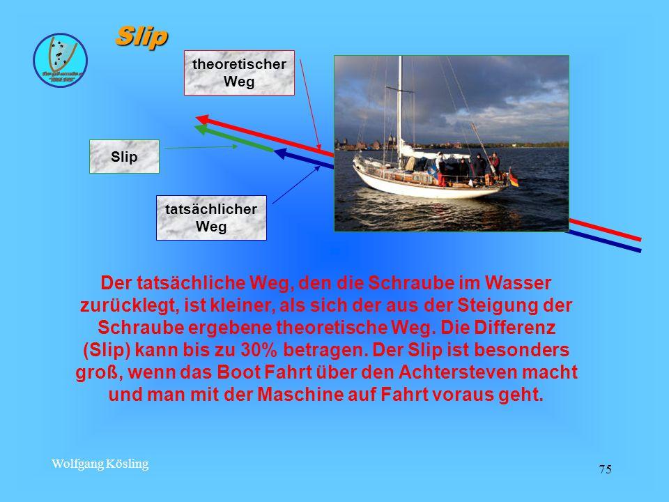 Wolfgang Kösling 75 Der tatsächliche Weg, den die Schraube im Wasser zurücklegt, ist kleiner, als sich der aus der Steigung der Schraube ergebene theoretische Weg.