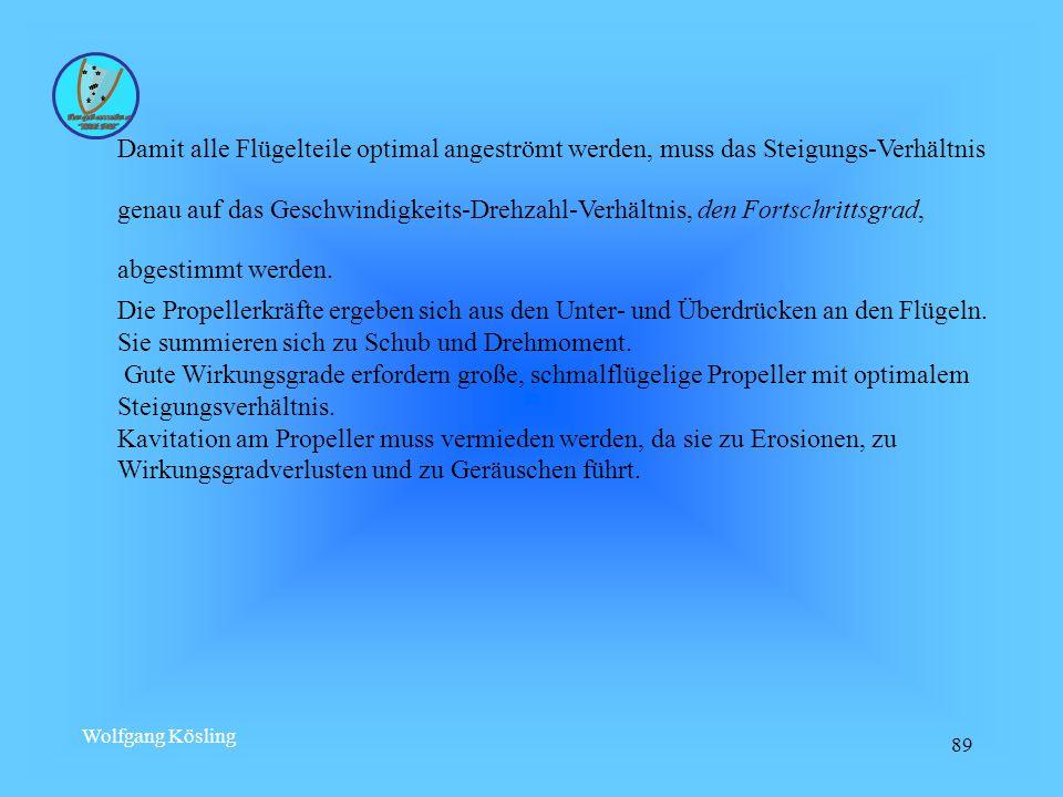 Wolfgang Kösling 89 Damit alle Flügelteile optimal angeströmt werden, muss das Steigungs-Verhältnis genau auf das Geschwindigkeits-Drehzahl-Verhältnis, den Fortschrittsgrad, abgestimmt werden.