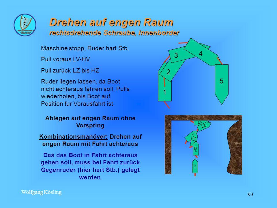 Wolfgang Kösling 93 Drehen auf engen Raum rechtsdrehende Schraube, Innenborder 5 4 3 2 1 Maschine stopp, Ruder hart Stb.