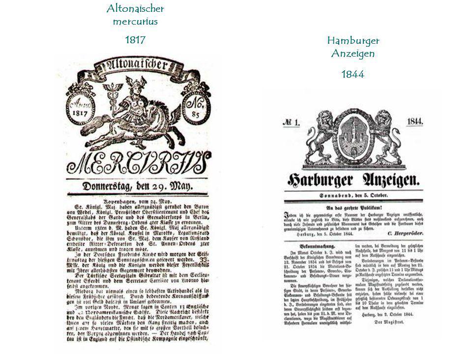Altonaischer mercurius 1817 Hamburger Anzeigen 1844