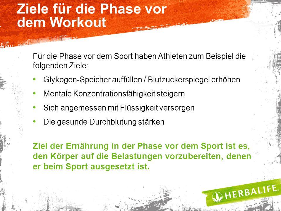 Ziele für die Phase vor dem Workout Für die Phase vor dem Sport haben Athleten zum Beispiel die folgenden Ziele: Glykogen-Speicher auffüllen / Blutzuc