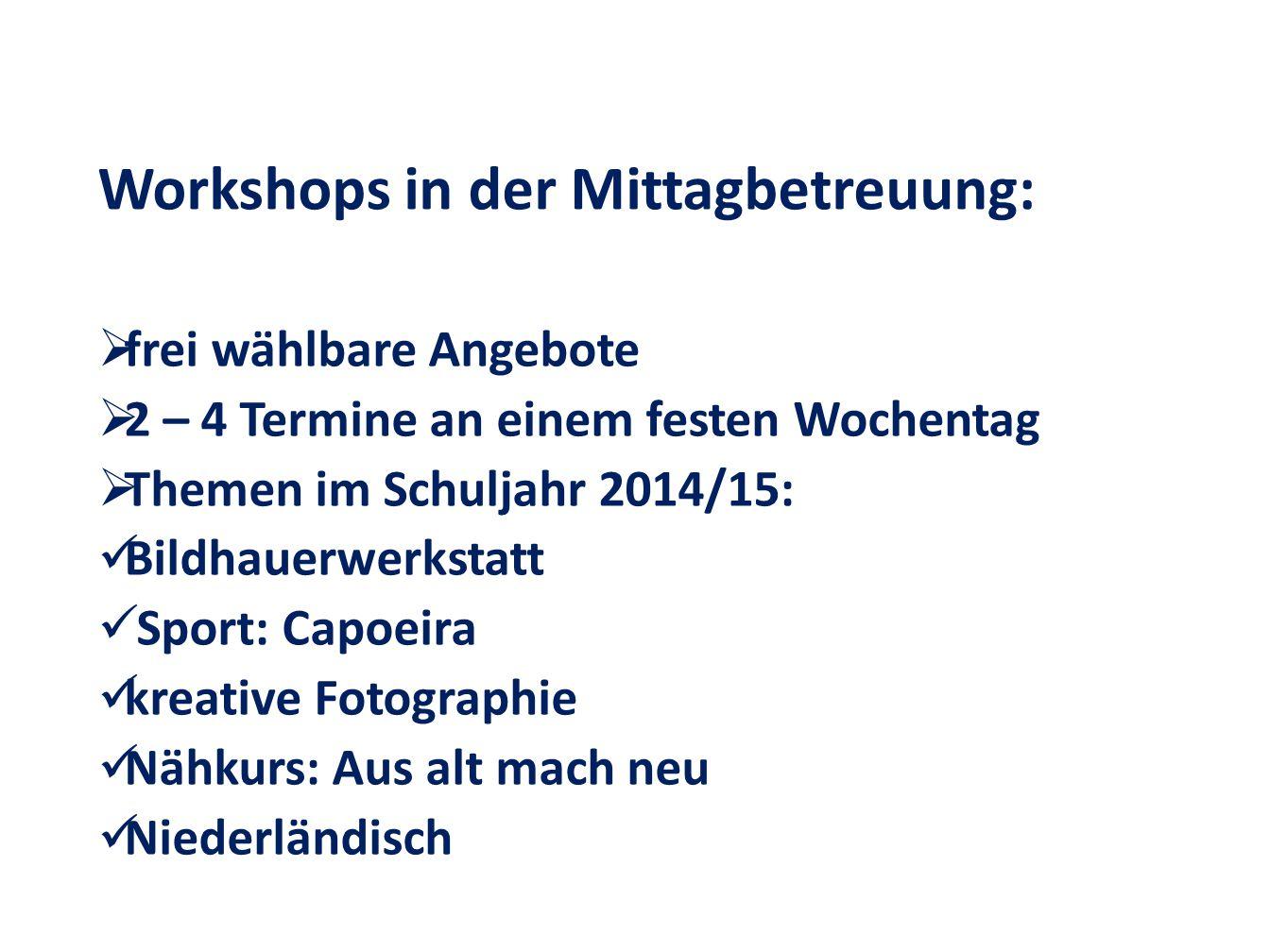 Workshops in der Mittagbetreuung:  frei wählbare Angebote  2 – 4 Termine an einem festen Wochentag  Themen im Schuljahr 2014/15: Bildhauerwerkstatt Sport: Capoeira kreative Fotographie Nähkurs: Aus alt mach neu Niederländisch