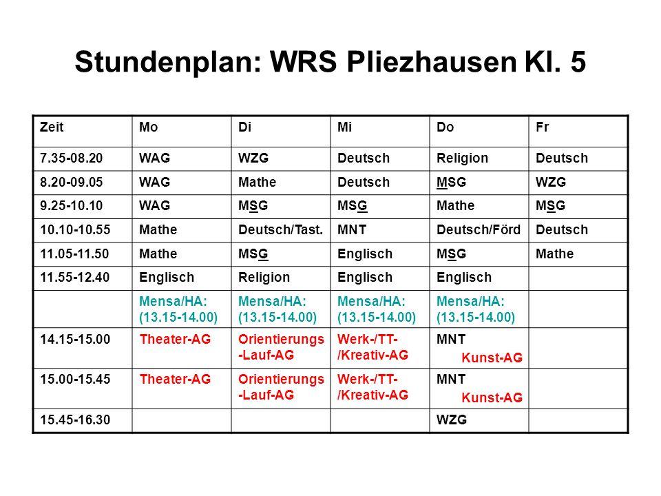 Stundenplan: WRS Pliezhausen Kl.