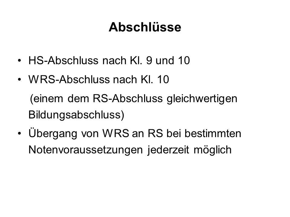 Abschlüsse HS-Abschluss nach Kl.9 und 10 WRS-Abschluss nach Kl.