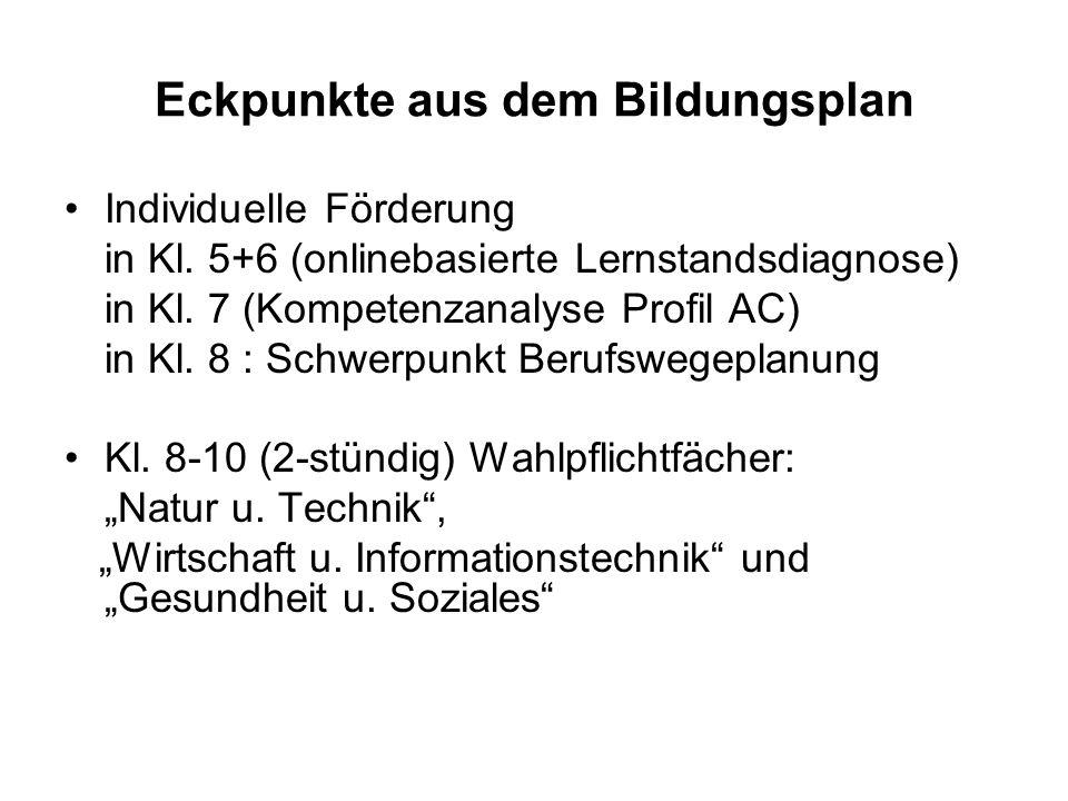 Eckpunkte aus dem Bildungsplan Individuelle Förderung in Kl.