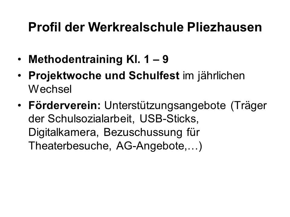 Profil der Werkrealschule Pliezhausen Methodentraining Kl.