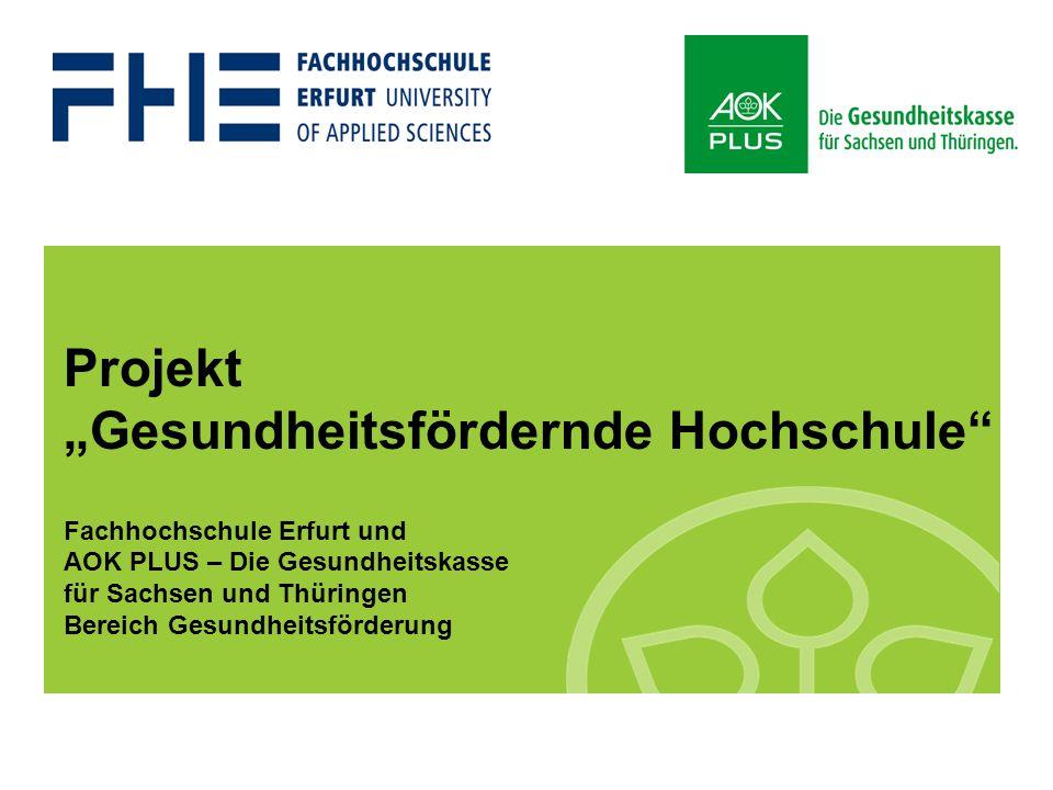 """""""Gesundheitsfördernde Hochschule"""" 2009 1 Projekt """"Gesundheitsfördernde Hochschule"""" Fachhochschule Erfurt und AOK PLUS – Die Gesundheitskasse für Sachs"""