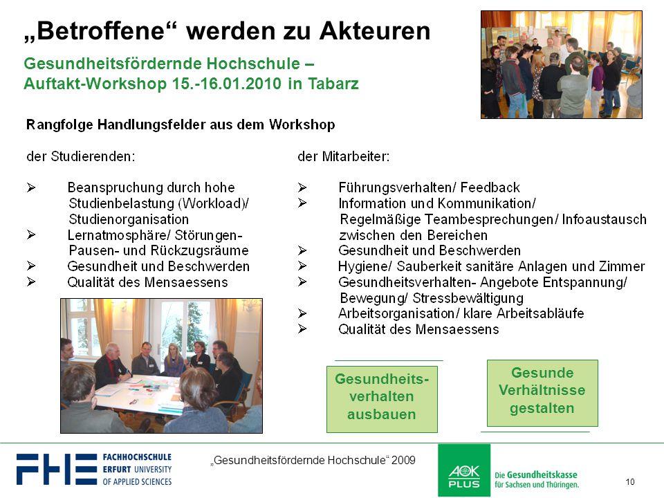 """""""Gesundheitsfördernde Hochschule"""" 2009 10 Gesundheitsfördernde Hochschule – Auftakt-Workshop 15.-16.01.2010 in Tabarz Gesunde Verhältnisse gestalten G"""