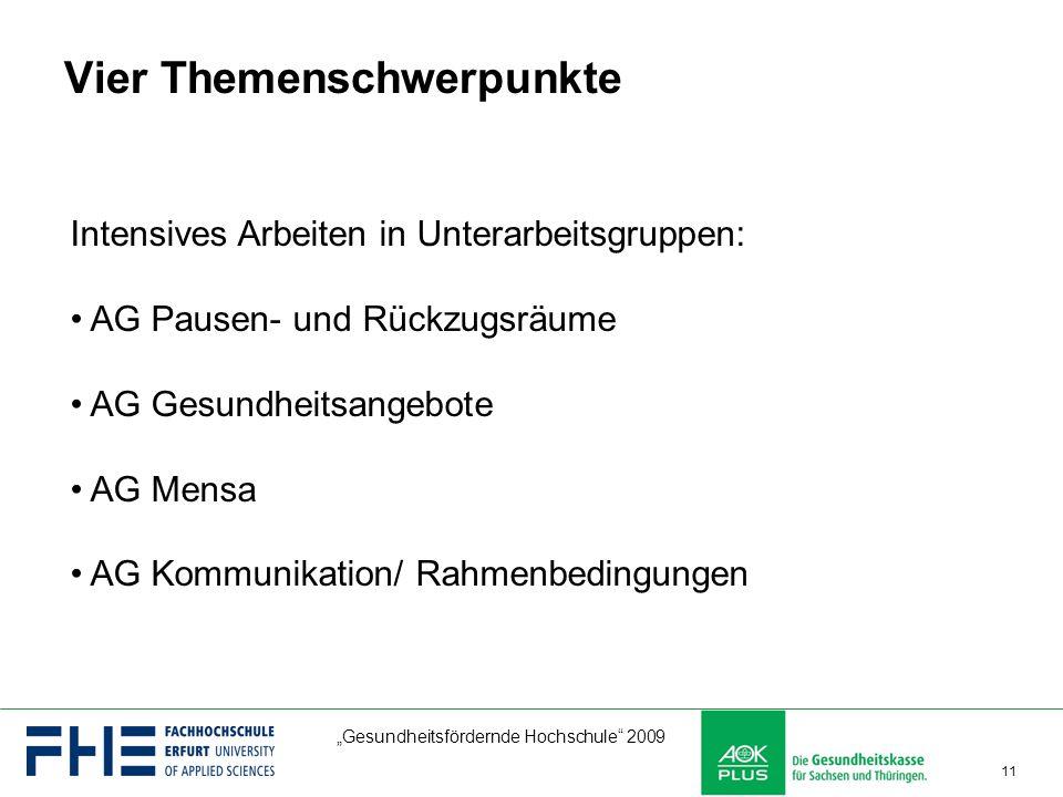 """""""Gesundheitsfördernde Hochschule"""" 2009 11 Vier Themenschwerpunkte Intensives Arbeiten in Unterarbeitsgruppen: AG Pausen- und Rückzugsräume AG Gesundhe"""