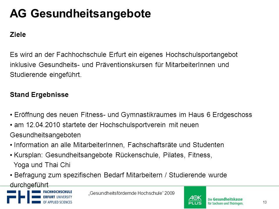 """""""Gesundheitsfördernde Hochschule"""" 2009 13 AG Gesundheitsangebote Ziele Es wird an der Fachhochschule Erfurt ein eigenes Hochschulsportangebot inklusiv"""