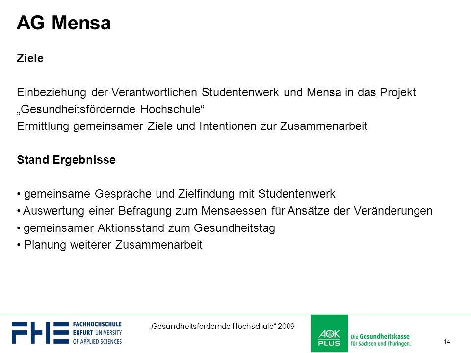 """""""Gesundheitsfördernde Hochschule"""" 2009 14 AG Mensa Ziele Einbeziehung der Verantwortlichen Studentenwerk und Mensa in das Projekt """"Gesundheitsfördernd"""