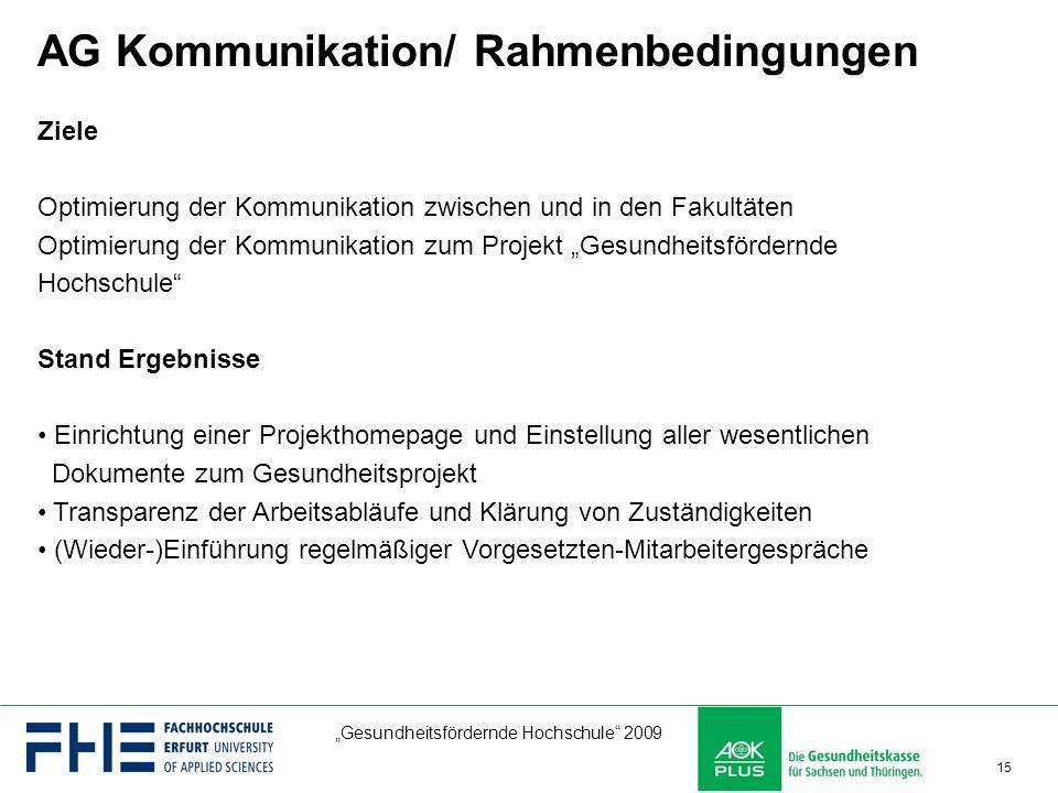 """""""Gesundheitsfördernde Hochschule"""" 2009 15 AG Kommunikation/ Rahmenbedingungen Ziele Optimierung der Kommunikation zwischen und in den Fakultäten Optim"""