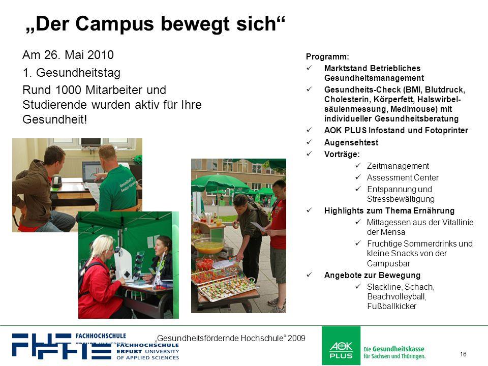 """""""Gesundheitsfördernde Hochschule"""" 2009 16 Programm: Marktstand Betriebliches Gesundheitsmanagement Gesundheits-Check (BMI, Blutdruck, Cholesterin, Kör"""