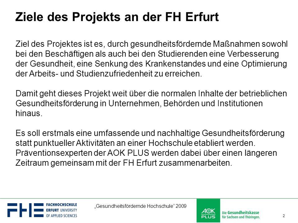 """""""Gesundheitsfördernde Hochschule"""" 2009 2 Ziel des Projektes ist es, durch gesundheitsfördernde Maßnahmen sowohl bei den Beschäftigen als auch bei den"""