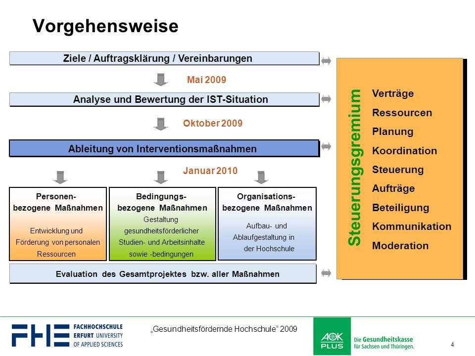 """""""Gesundheitsfördernde Hochschule"""" 2009 4 Vorgehensweise Organisations- bezogene Maßnahmen Aufbau-und Ablaufgestaltung in der Hochschule Evaluation des"""