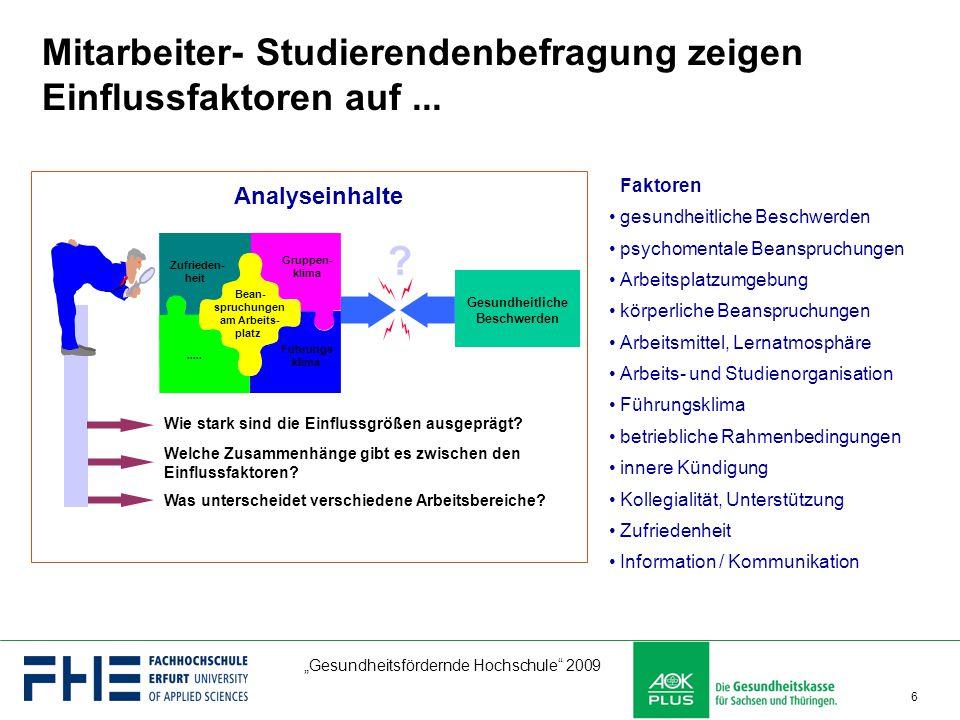 """""""Gesundheitsfördernde Hochschule"""" 2009 6 Faktoren gesundheitliche Beschwerden psychomentale Beanspruchungen Arbeitsplatzumgebung körperliche Beanspruc"""