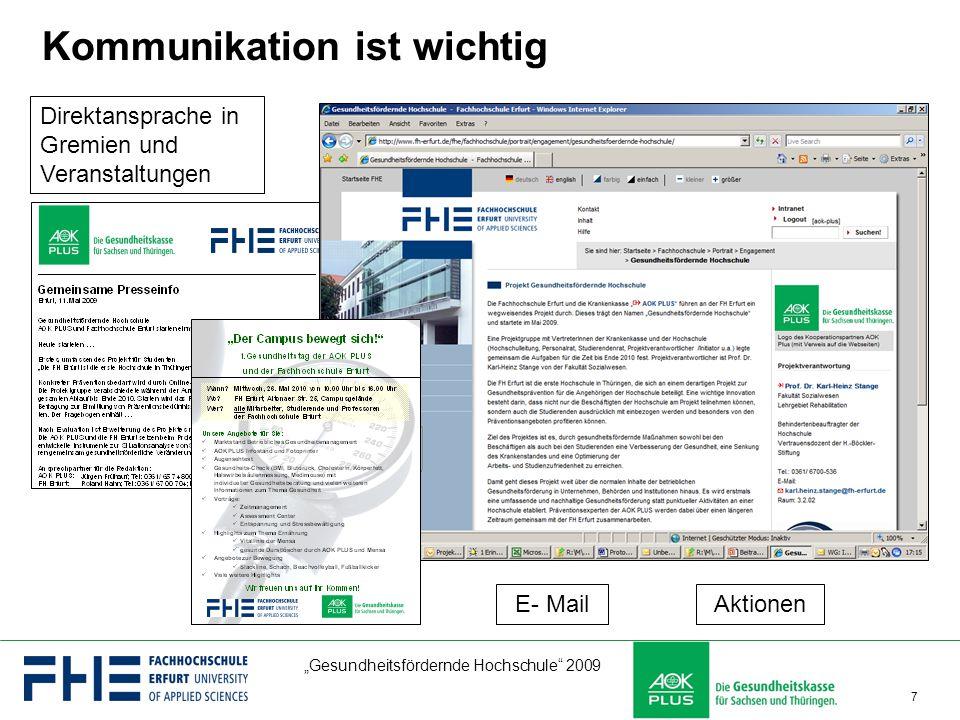"""""""Gesundheitsfördernde Hochschule"""" 2009 7 Kommunikation ist wichtig Direktansprache in Gremien und Veranstaltungen E- MailAktionen"""