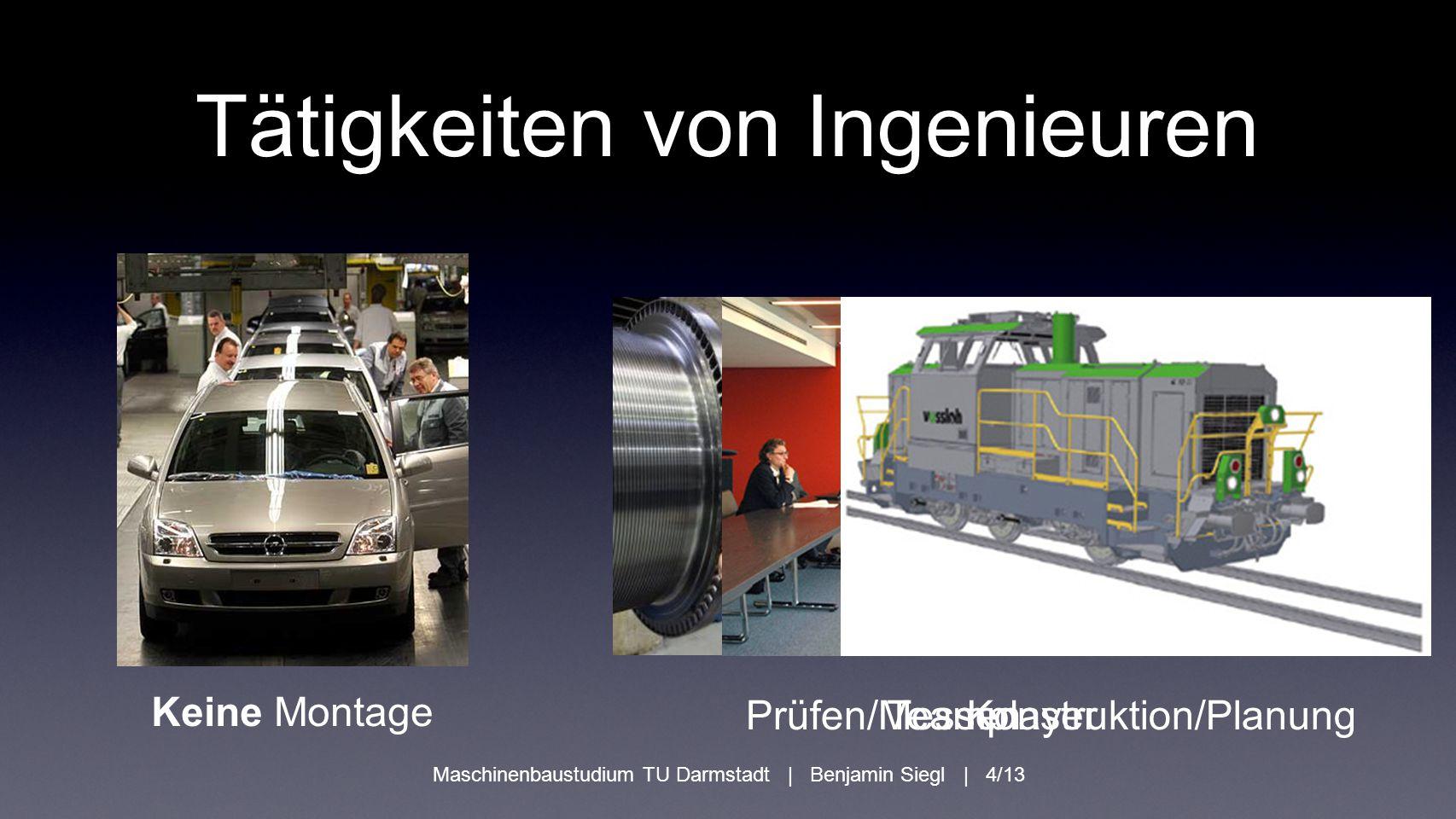 Maschinenbaustudium TU Darmstadt | Benjamin Siegl | 4/13 Tätigkeiten von Ingenieuren Keine Montage Prüfen/MessenTeamplayerKonstruktion/Planung