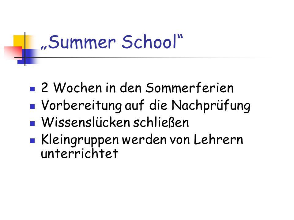 """""""Summer School 2 Wochen in den Sommerferien Vorbereitung auf die Nachprüfung Wissenslücken schließen Kleingruppen werden von Lehrern unterrichtet"""