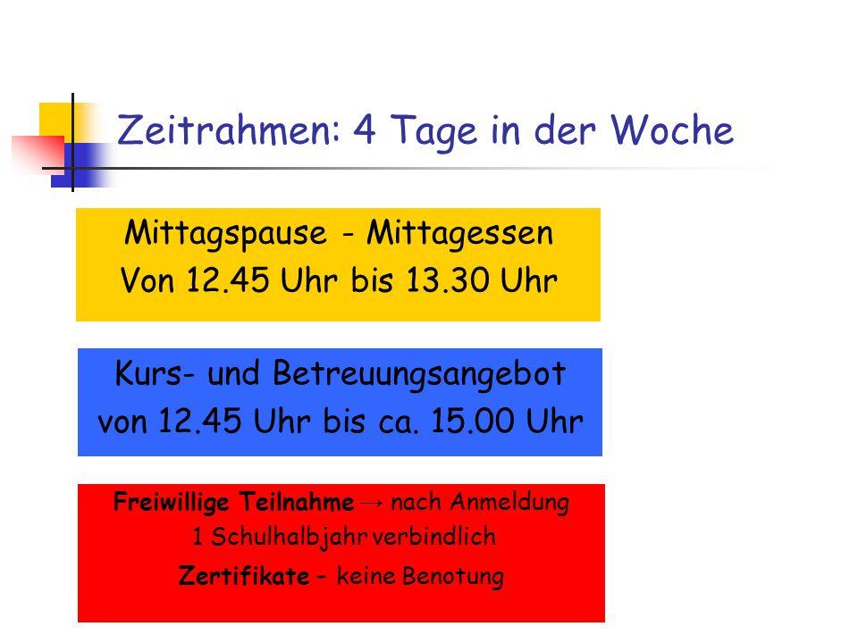 Zeitrahmen: 4 Tage in der Woche Mittagspause - Mittagessen Von 12.45 Uhr bis 13.30 Uhr Kurs- und Betreuungsangebot von 12.45 Uhr bis ca.
