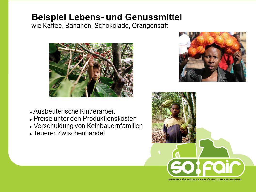 Beispiel Lebens- und Genussmittel wie Kaffee, Bananen, Schokolade, Orangensaft Ausbeuterische Kinderarbeit Preise unter den Produktionskosten Verschuldung von Keinbauernfamilien Teuerer Zwischenhandel