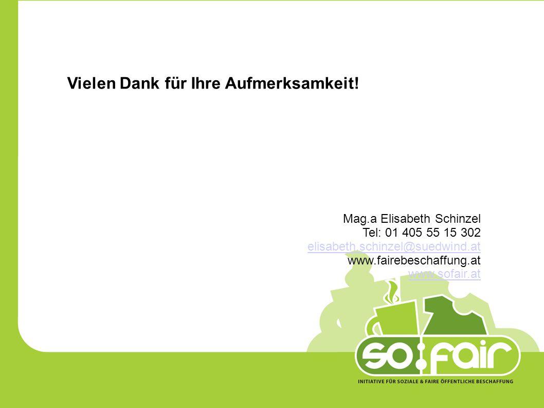 Vielen Dank für Ihre Aufmerksamkeit! Mag.a Elisabeth Schinzel Tel: 01 405 55 15 302 elisabeth.schinzel@suedwind.at www.fairebeschaffung.at www.sofair.