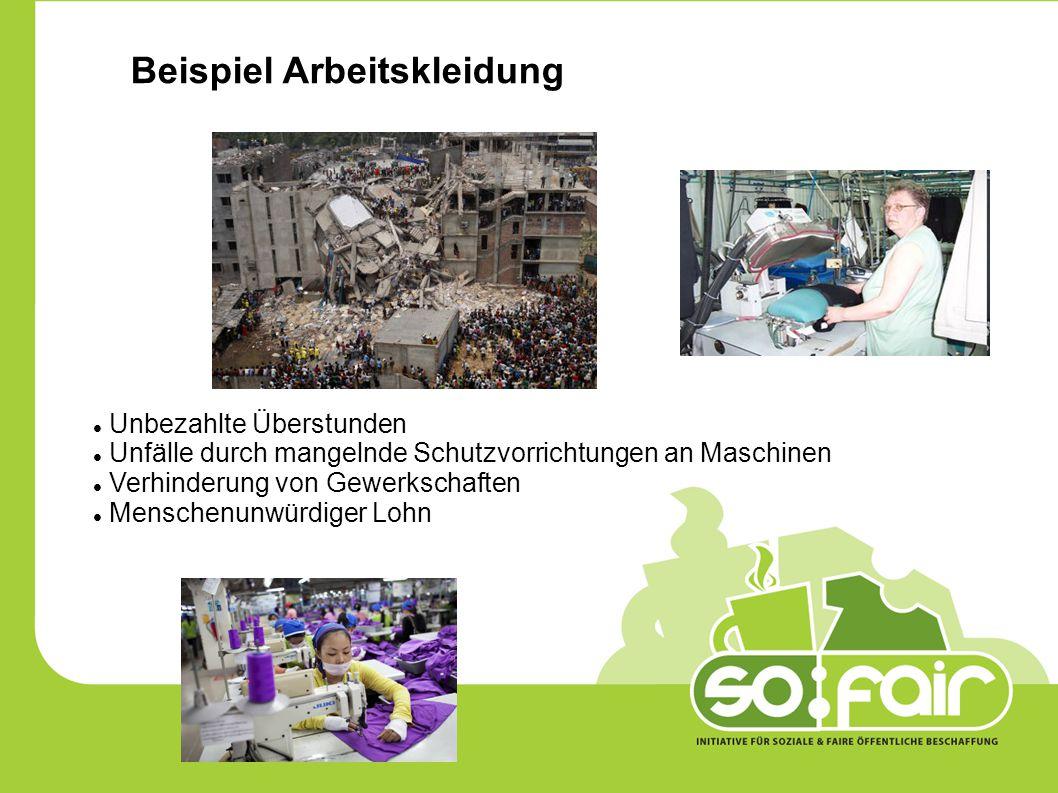 Beispiel Arbeitskleidung Unbezahlte Überstunden Unfälle durch mangelnde Schutzvorrichtungen an Maschinen Verhinderung von Gewerkschaften Menschenunwürdiger Lohn