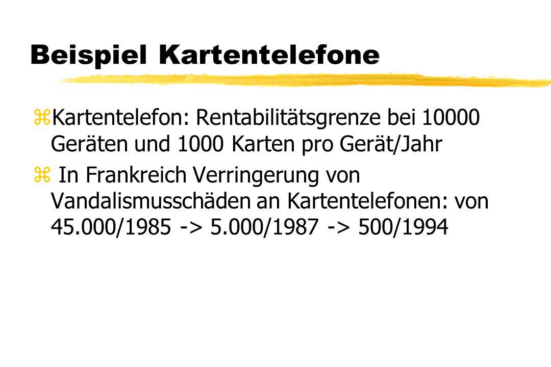 Beispiel Kartentelefone zKartentelefon: Rentabilitätsgrenze bei 10000 Geräten und 1000 Karten pro Gerät/Jahr z In Frankreich Verringerung von Vandalis