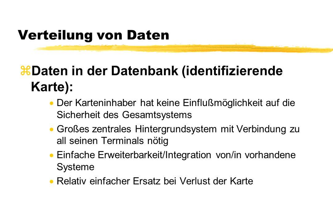 Verteilung von Daten zDaten in der Datenbank (identifizierende Karte):  Der Karteninhaber hat keine Einflußmöglichkeit auf die Sicherheit des Gesamts