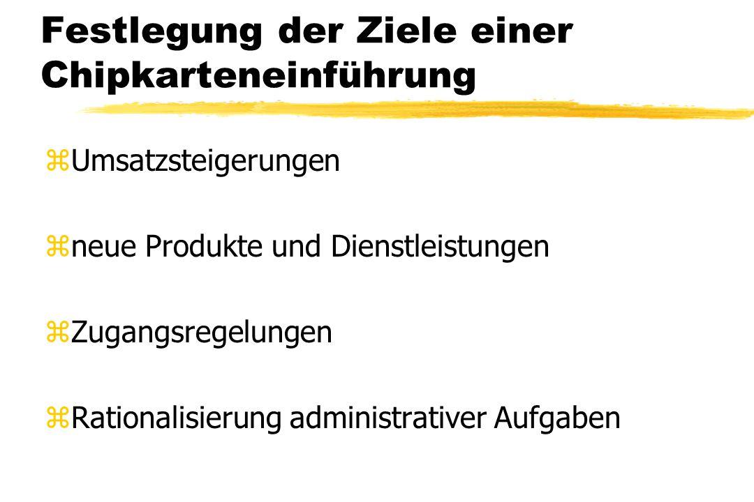 Festlegung der Ziele einer Chipkarteneinführung zUmsatzsteigerungen zneue Produkte und Dienstleistungen zZugangsregelungen zRationalisierung administr