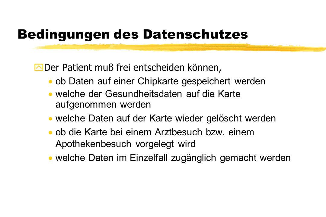 Bedingungen des Datenschutzes yDer Patient muß frei entscheiden können,  ob Daten auf einer Chipkarte gespeichert werden  welche der Gesundheitsdate