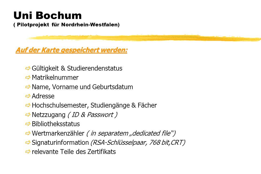 Auf der Karte gespeichert werden:   Gültigkeit & Studierendenstatus   Matrikelnummer   Name, Vorname und Geburtsdatum   Adresse   Hochschuls