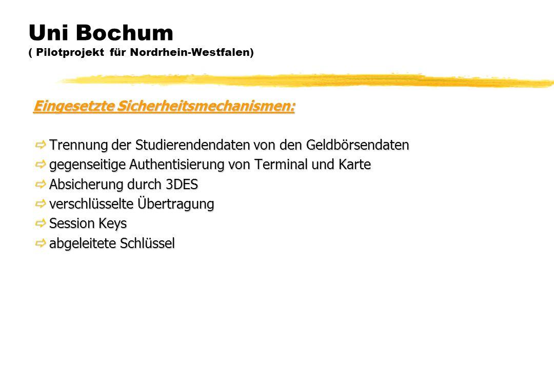 Uni Bochum ( Pilotprojekt für Nordrhein-Westfalen) Eingesetzte Sicherheitsmechanismen:  Trennung der Studierendendaten von den Geldbörsendaten  gege
