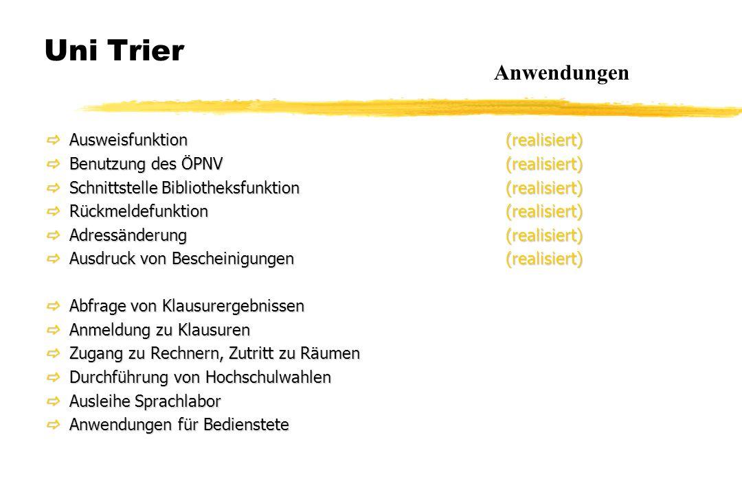 Uni Trier  Ausweisfunktion(realisiert)  Benutzung des ÖPNV(realisiert)  Schnittstelle Bibliotheksfunktion(realisiert)  Rückmeldefunktion(realisier