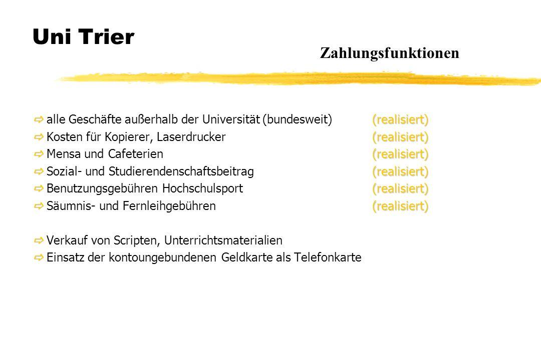 Uni Trier  (realisiert)  alle Geschäfte außerhalb der Universität (bundesweit) (realisiert)  (realisiert)  Kosten für Kopierer, Laserdrucker (real